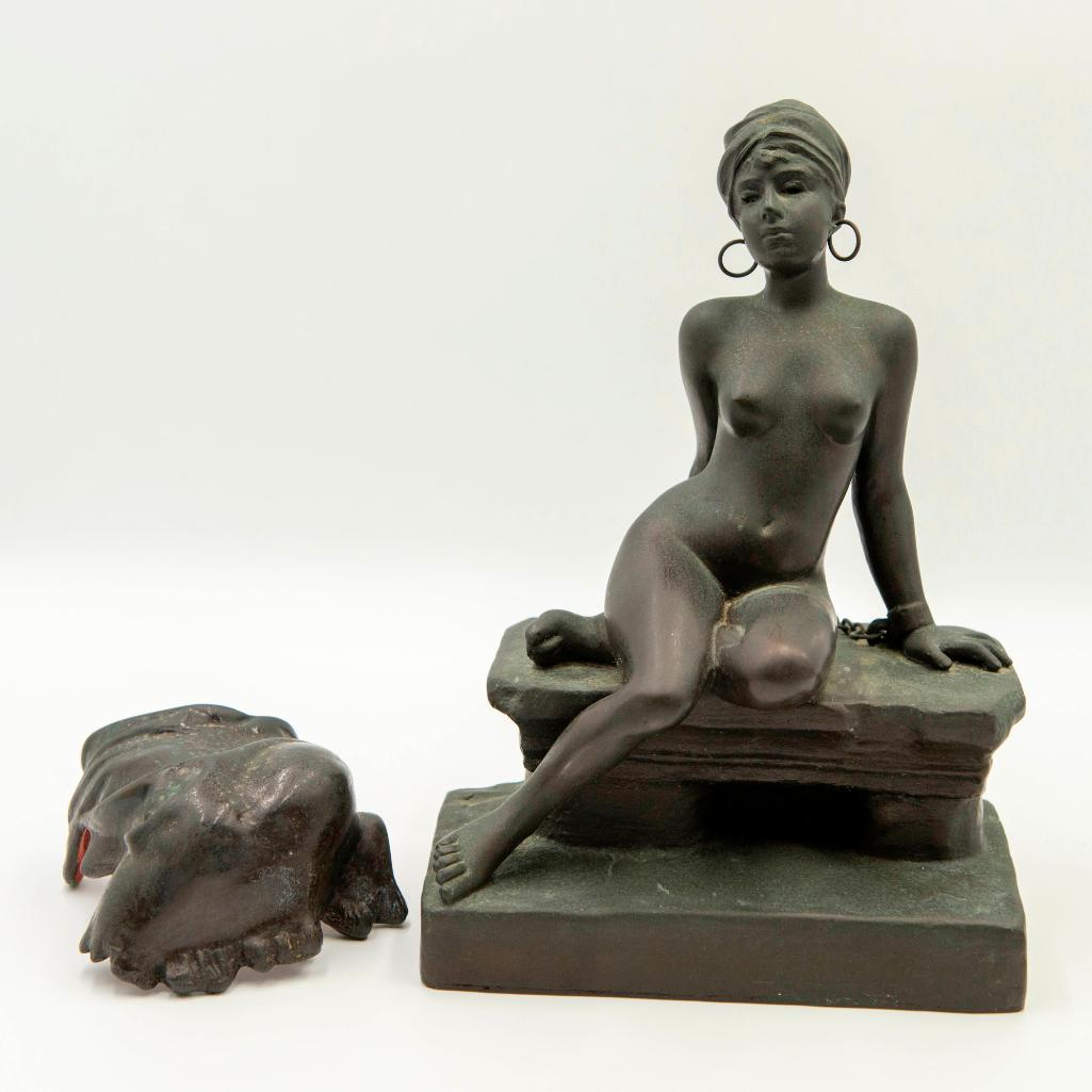 "Emmanuel Villanis (French, 1858-1914) Bronze Sculpture Nubian Slave Market of a Nude Woman with Removable Skirt. Signed on the side of the base. Issued: Circa 1890s Dimensions: 10""H x 7""L x 4.5""W Country of Origin: France"
