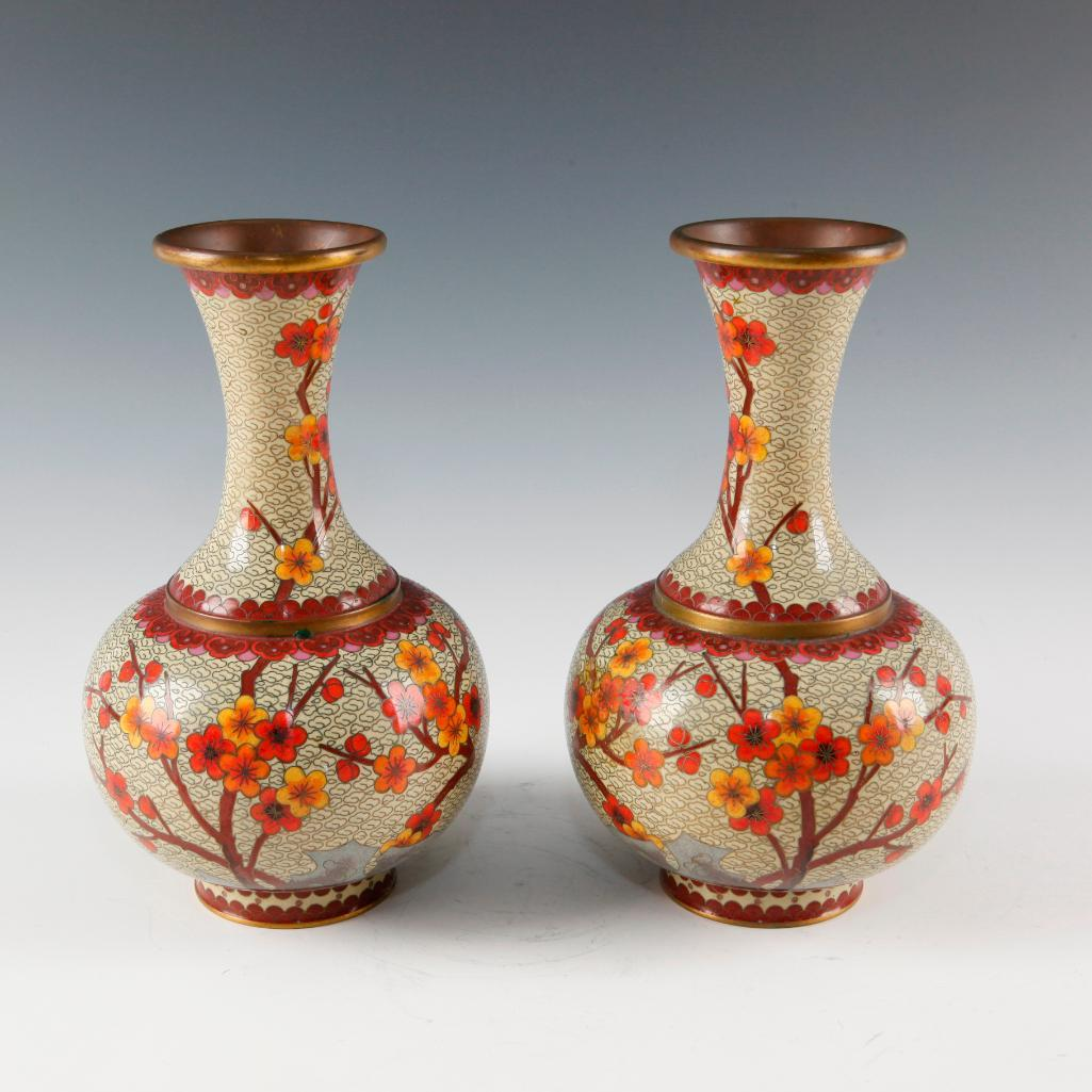 PAIR OF CHINESE CLOISONNE VASES