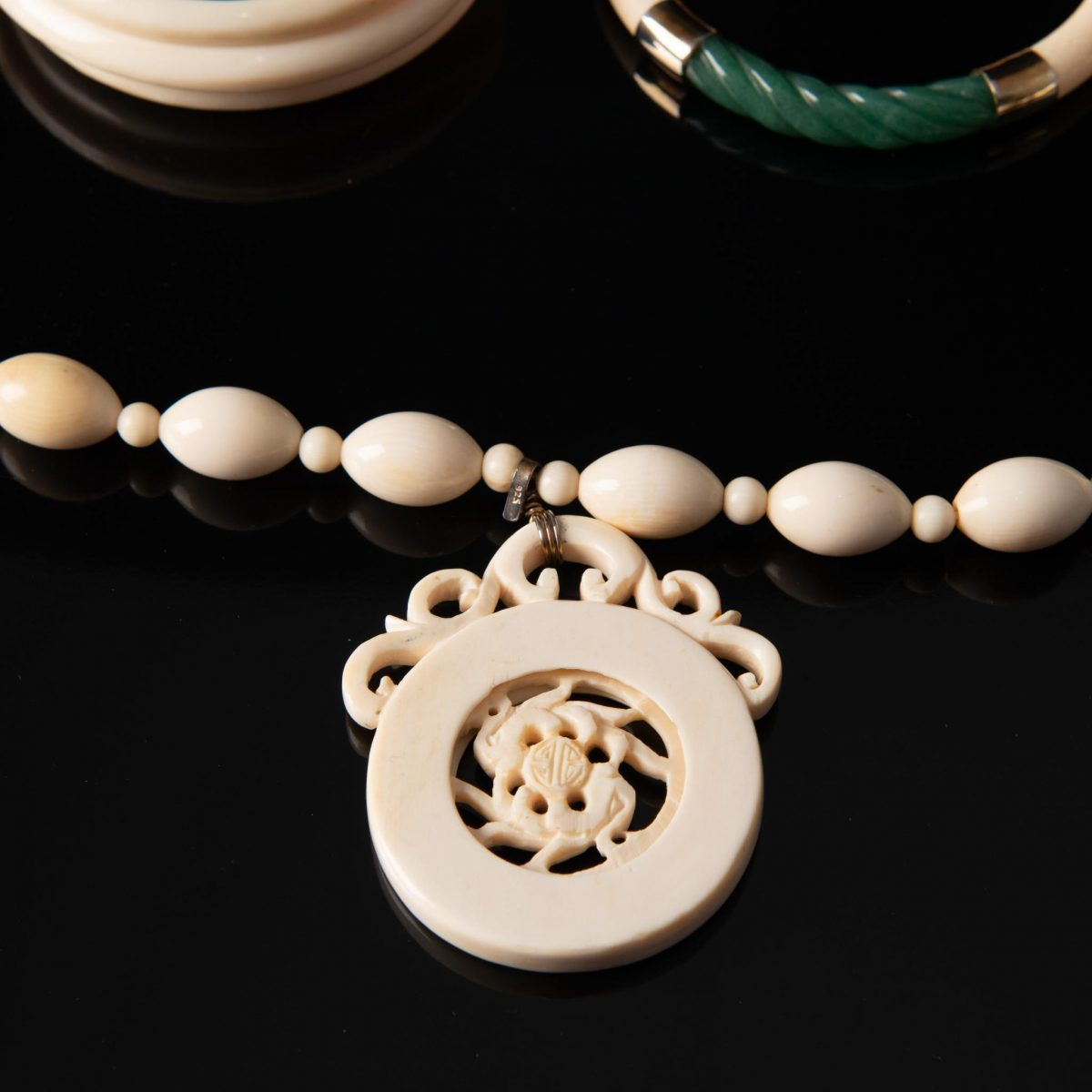 Vintage Bone Jewelry Necklace and Bangles Set