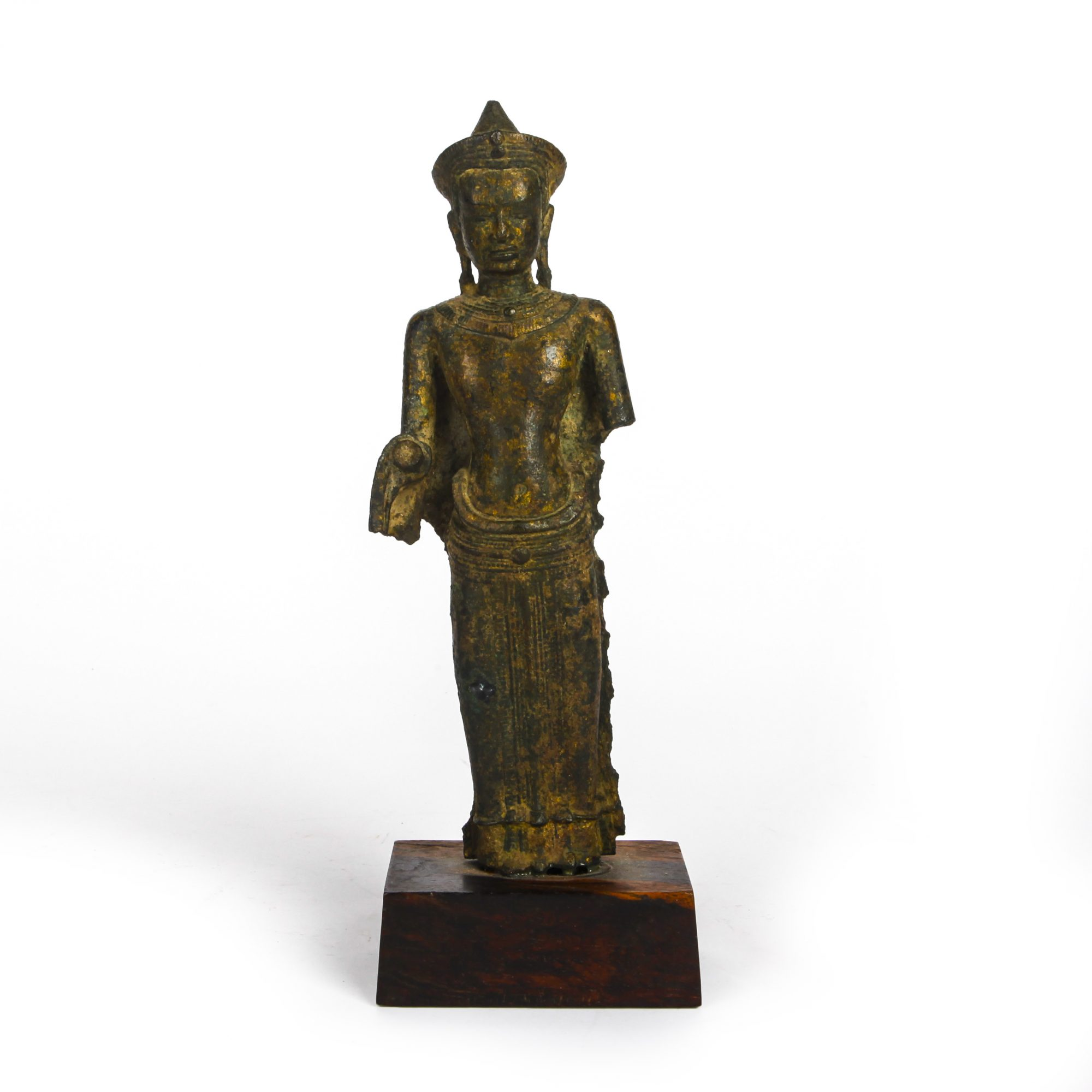 ANTIQUE THAI LOPBURI PERIOD KHMER BRONZE BUDDHA STATUE